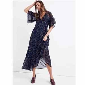 Madewell Vervain Ruffle Sleeve Maxi Dress Floral